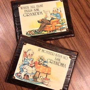 ✨Vintage Grandma & Grandpa Shellacked Wood Art